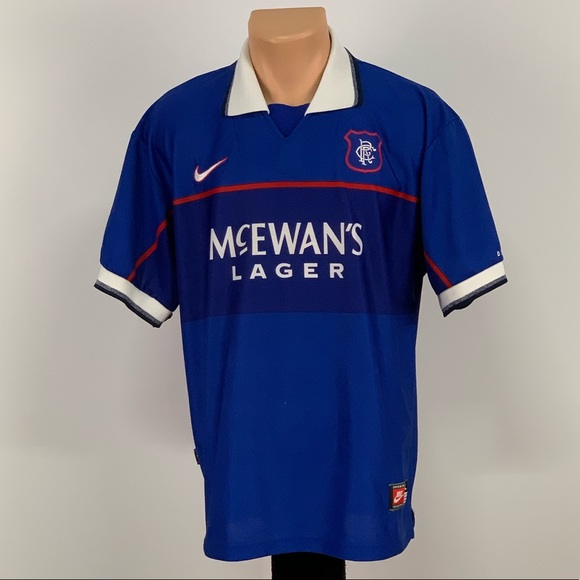 cheap for discount 12130 1d3df Vintage Nike Rangers F.C. Soccer Jersey
